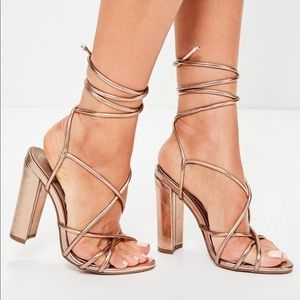 Missguided-Rose Gold Multi Strap Block Heels